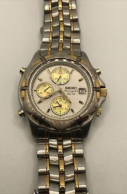 Vintage Seiko Men's Watch 7T32-6G89 Alarm Chronograph 3 Sub Dials Bin N