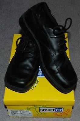 Smart Fit Black Lace Up Boys Dress Shoes Size 2 1/2 Dress Moc Robe Dentelle  (Boys Black Robe)