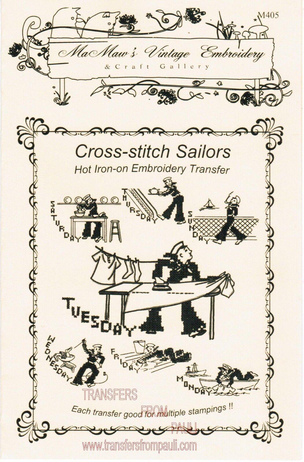 Cross stitch sailors dow iron embroidery transfers mamaw s