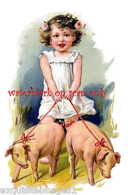 Vintage Art~Sweet Barefoot Girl Walks Two Cute Pigs on Leash~NEW Lge Note Cards