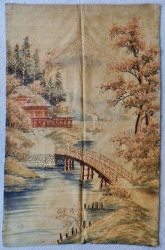 Superb Meiji-era Japanese 44 x 28 Silk Tapestry Wall-Hanging Textile Embroidery