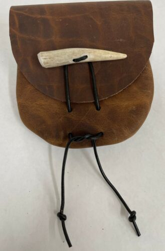 AMERICAN BISON LEATHER MEDICINE BAG HAND MADE IN THE USA  FREE SHIPPING!