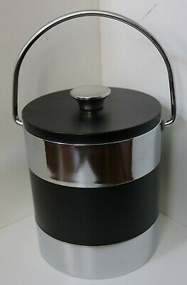 VINTAGE ICE BUCKET / BLACK & SILVER / HOME BAR COOLER BREWERIANA / CHROME