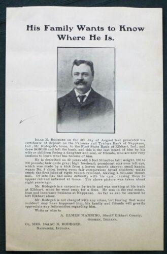 Isaac Rodegeb missing Elkhart County Indiana Man ca 1905 Sheriff
