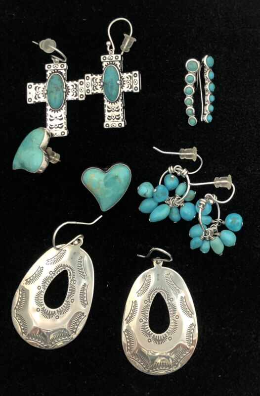 Sterling Silver 925 Turquoise Earring Lot from QVC