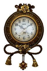 Jeweled Round Brown & Gold Polyresin Wall Clock w/ Pendulum & Tassels, 25