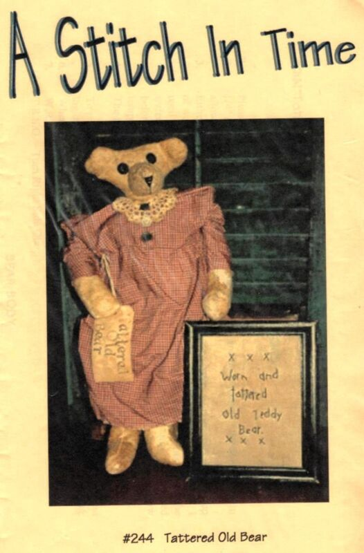 TATTERED OLD BEAR DOLL PATTERN WITH STITCHERY PATTERN- A STITCH IN TIME