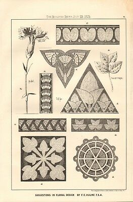1875 ANTIQUE PRINT- ARCHITECTURE - SUGGESTIONS IN FLORAL DESIGN, F E HULME #2