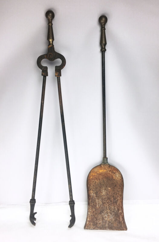Antique Early American Brass & Wrought Iron Fireplace Tools Claw Tong & Shovel