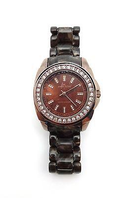 a039ac465be ANNE KLEIN Ladies Brown Resin   Brass Swarovski Crystal Dress Watch  10-9669BMBN