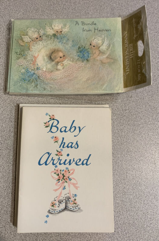 Vintage Mixed Lot of 16 Birth Announcements Hallmark and Festival Baby Angels