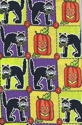 Colorful HALLOWEEN Black Cat Pumpkin JOL Cats Fabric 100% Cotton 1 Yard - Halloween Coloring Black Cat