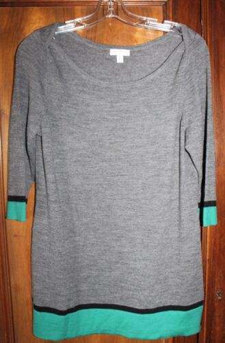 A Pea In The Pod Maternity Tunic Wool Sweater Gray Black Teal Color Block Large