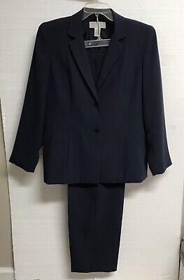 Pristine Norton McNaughton Womens 2 pc Jacket & Pant SET Suit 10 BLUE/GRAY Dark
