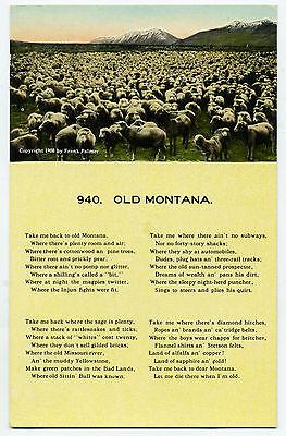 "MT Montana ""Old Montana"" Poem Sheep Herd Unposted DB 1908"