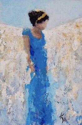 "ACEO ATC Signed Print ""Blue Angel"" Art Card Artist Trading Card Angel Fairy Fairy Art Card"