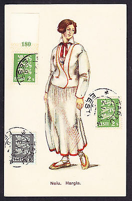 1933 CTO postmarked Eesti Estonian stamps on Estonia Costume Neiu postcard CPA