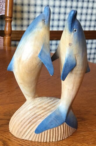 HAND CARVED WOOD DOLPHIN DOLPHINS FIGURINE STATUE