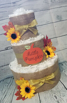 3 Tier Diaper Cake - Little Pumpkin Burlap and Gold - Fall Theme Baby Shower