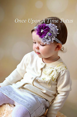 Plum Purple & Silver Christmas Shabby Flower Winter Baby Hair Bow Girl Headband (Xmas Headbands)