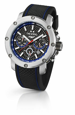 TW Steel TW925 Men's Yamaha Factory Chronograph 48mm Black Dial Rubber Watch Black Dial Steel Chronograph Watch