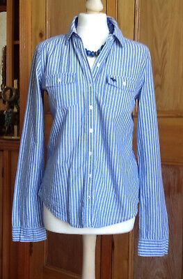 Abercrombie & Fitch blue & white stripe shirt button Size medium