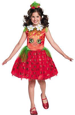 GIRLS STRAWBERRY KISS SHOPKIN COSTUME DRESS & HEADPIECE DG97978 (Girl Kiss Kostüm)
