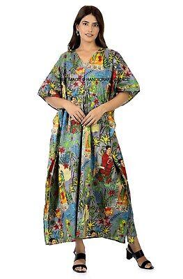 Indio Vestido Largo Kimono Talla Grande Gris Frida Kahlo Algodón Caftán