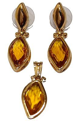Leaf Amber Tone Necklace Set Earring and Pendant 18K Gold Plated 20 inch Chain