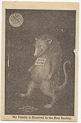 HTF Billy Possum Wm Taft as Man in the Moon Postcard You're My Meat Atlanta Ga