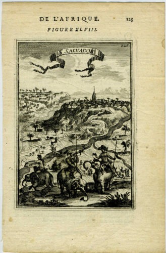1683 Genuine Antique print Sao Salvador, Angola, Africa. by A.M. Mallet