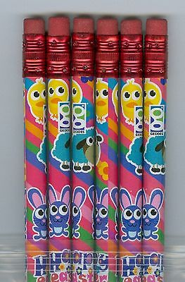 Happy Easter with animals on bright pencils. Set of 6!