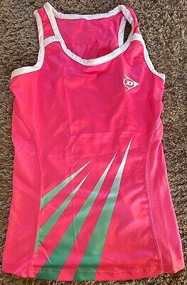DUNLOP Sports Tennis Womans LADIES Size UK S Tank TOP  PINK Green White for sale  Shipping to South Africa