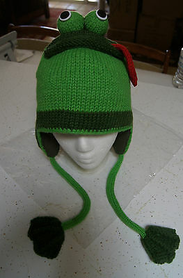 FROG HAT knit ADULT animal ski cap costume LINED mens womens TONGUE beanie toque - Toad Costume Hat