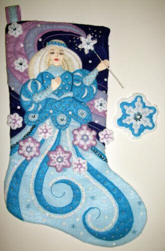 Handmade Snow Princess Christmas Felt Stocking Bucilla Finished