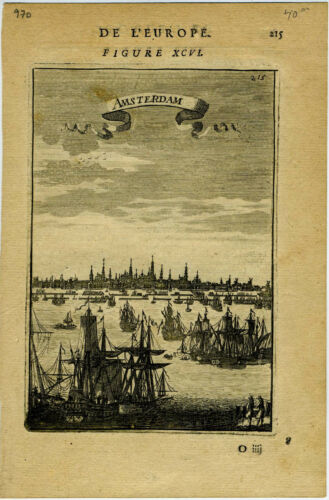 "1683 Genuine Antique print ""Amsterdam"", Netherlands, Holland. A. M. Mallet"