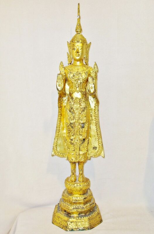 "Vintage ? Chinese Tibetan or Thai Gold Gilt Cast Metal Standing Buddha  (28.8"")"