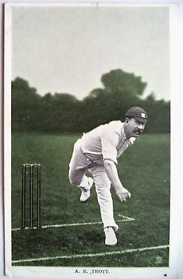 "TROTT ALBERT MIDLESEX & ENGLAND 1907 ""IN THE OPEN"" RAPH TUCK CRICKET POSTCARD"