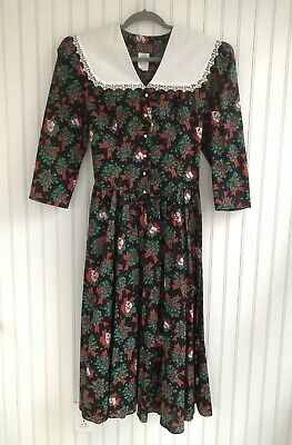 80s Dresses | Casual to Party Dresses Vintage LISA II Christmas Dress Prairie Lace Collar Floral Boho Country Modest $29.00 AT vintagedancer.com