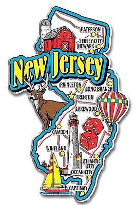 (New Jersey Jumbo State Map Fridge Magnet)