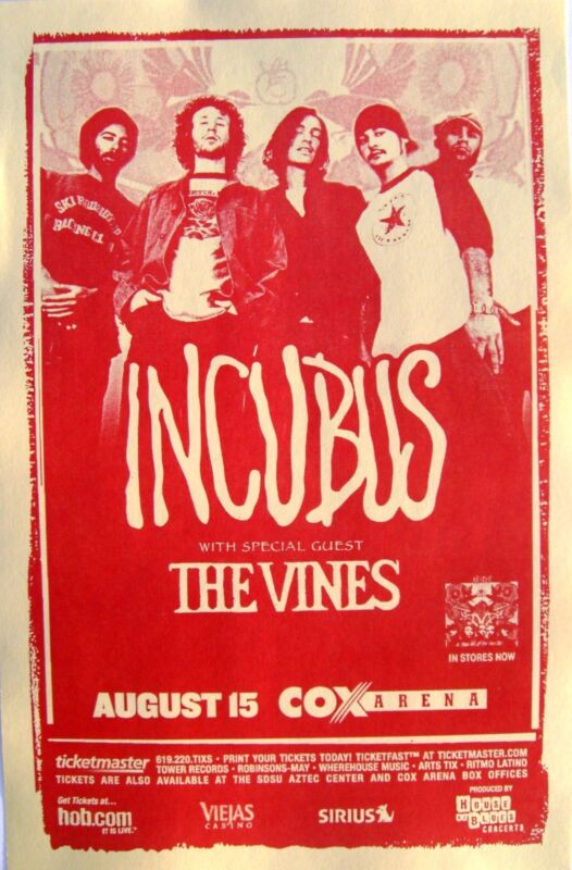 "INCUBUS & THE VINES ""A CROW LEFT OF MURDER TOUR 2004"" SAN DIEGO CONCERT POSTER"