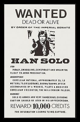 STAR WARS * CineMasterpieces ORIGINAL VINTAGE HAN SOLO WANTED POSTER 1970'S