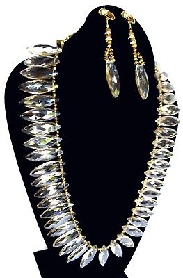 IRIS G Champagne Austrian Crystal Demi Parure-Necklace & Clip-On Earrings-OOAK
