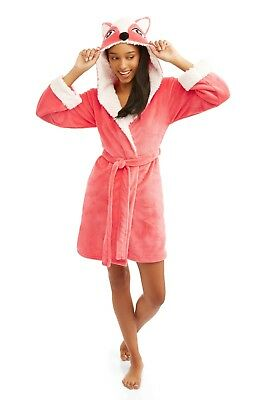 (Body Candy Huggable Luxe Plush Peach Critter Sleepwear Robe FOXY LADY Large)