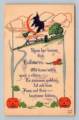 HALLOWEEN Vintage HGW Postcard Flying Black & Purple Witch Jack-O-Lantern Moon