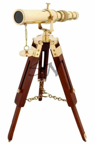Nautical Polished Brass Telescope With Wooden Marine Tripod Stand Desk Decor