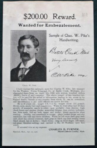 Charles W Pike Battle Creek MI Telegraph Co Embezzler orig 1906 Wanted Poster