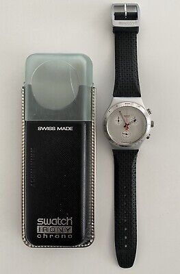 SWATCH IRONY Chronograph Vintage Watch Swiss Made Aluminum Case Rubber Strap