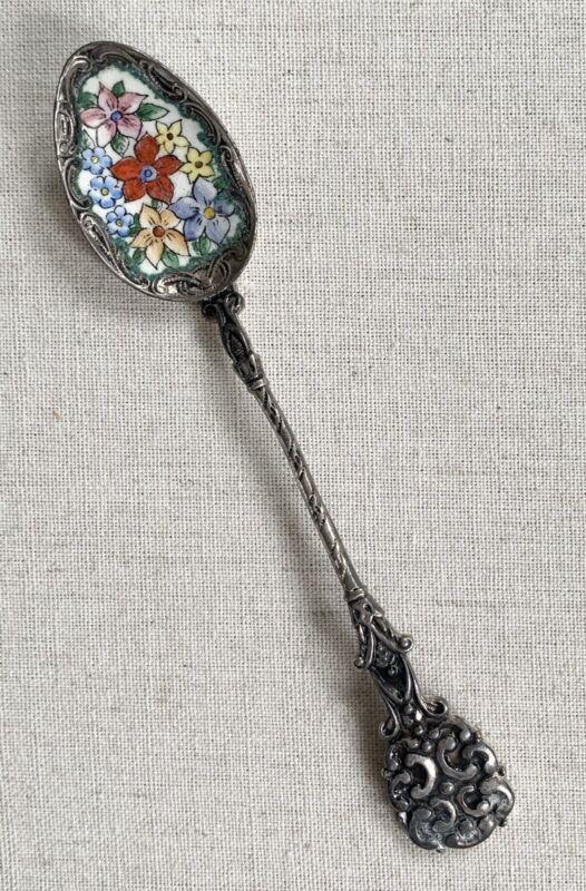 Vintage Hand Painted Enamel Floral Flowers Czech Souvenir Demitasse Spoon