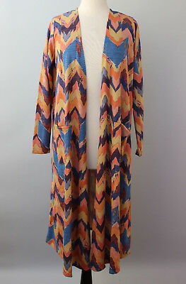 XL Extra Large LuLaRoe Sarah Beautiful Multi Color Mustard Pink Blue Cardigan